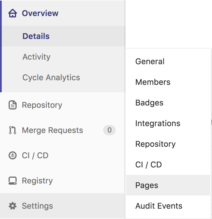 Gitlab Pages settings